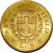 5 lires Victor-Emmanuel II (or) – revers