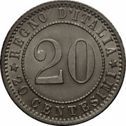 20 centesimi Humbert Ier -  revers