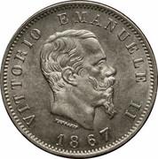 1 lire Victor-Emmanuel II (argent 835‰) – avers