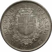 1 lire Victor-Emmanuel II (argent 835‰) – revers
