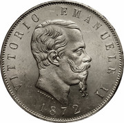 5 lires Victor-Emmanuel II (argent) – avers