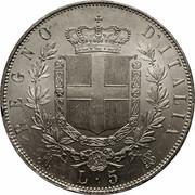 5 lires Victor-Emmanuel II (argent) – revers