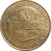 200 lires (100ème anniversaire de l'Académie de la Guardia di Finanza) – revers