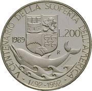 200 lires Christophe Colomb – revers