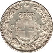 50 centesimi Humbert Ier – revers