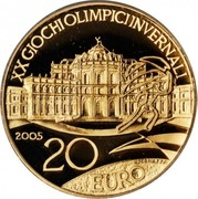 20 euros JO 2006 Pavillon de chasse de Stupinigi – revers