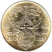 200 lires Lega navale italiana – revers
