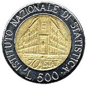 500 lires Institut national des statistiques -  revers