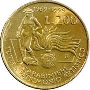 200 lires Carabinier protecteur du patrimoine culturel – revers