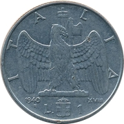 1 lire Victor-Emmanuel III (non magnétique) – revers