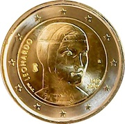 2 euros Léonard de Vinci -  avers