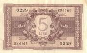 5 Lire 23.11.1944 Sigs. Bolaffi, Cavallaro and Giovinco. – revers