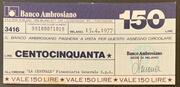 150 lire Banco Ambrosiano – avers