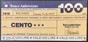 100 lire Banco Ambrosiano – avers