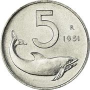 5 lires -  revers
