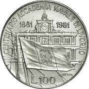100 lires Académie navale -  revers