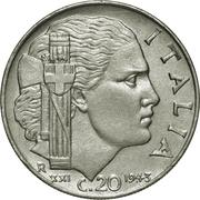 20 centesimi Victor-Emmanuel III (magnétique, striée) -  revers