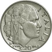 20 centesimi Victor-Emmanuel III (magnétique, lisse) – revers