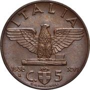 5 centesimi Victor-Emmanuel III (cuivre) – revers