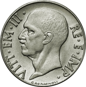 20 centesimi Victor-Emmanuel III (non magnétique, striée) – avers