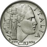 20 centesimi Victor-Emmanuel III (non magnétique, striée) – revers