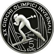 5 euros JO 2006 Ski de fond -  revers
