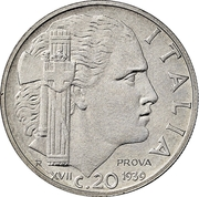 20 centesimi - Vittorio Emanuele III (Magnétique, essai) – revers