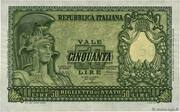 "50 LIRE ""Italia elmata"" – avers"