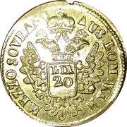 """demi-Souverain d'or"""" pour le Royaume de Lombardie-Vénétie – avers"""