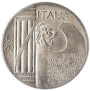20 lires Mussolini – avers