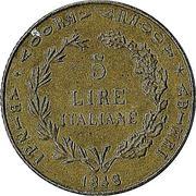 5 lire italiane – revers
