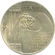 20 Lire - Vittorio Emanuele III – revers