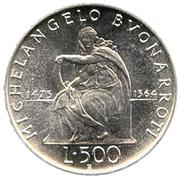 500 lires Michelangelo – revers