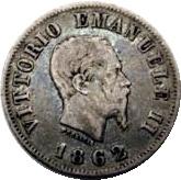 50 centesimi Victor-Emmanuel II (argent 900‰) – avers