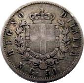 50 centesimi Victor-Emmanuel II (argent 900‰) – revers