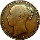 1/52 shilling Victoria (1ère effigie, cuivre) – avers