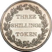 3 shillings (jeton, argent 891‰) – revers