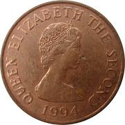 1 penny Elizabeth II (2e effigie, 2e type, acier plaqué cuivre) – avers