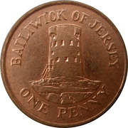 1 penny Elizabeth II (2e effigie, 2e type, acier plaqué cuivre) – revers