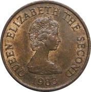1 penny Elizabeth II (2e effigie, 2e type, bronze) – avers