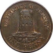 1 penny Elizabeth II (2e effigie, 2e type, bronze) – revers
