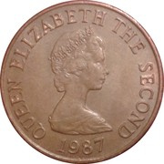 2 pence Elizabeth II (2e effigie, 2e type, bronze) -  avers