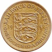 ¼ shilling Elizabeth II (1ère effigie, ronde) – revers