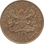 10 cents Jomo Kenyatta (sans légende) – avers