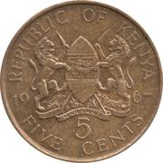5 cents Jomo Kenyatta (sans légende) – avers