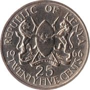 25 cents Jomo Kenyatta (sans légende) – avers