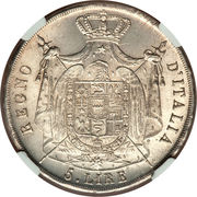 5 lire Napoléon I – revers