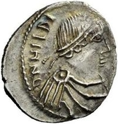 50 denarii Hildéric (Carthage) – avers