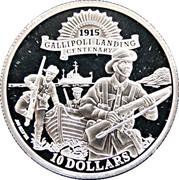 10 Dollars - Elizabeth II (Gallipoli Landing Centenary) – revers