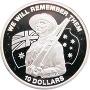 10 Dollars - Elizabeth II (ANZAC Day - Rifle) – revers